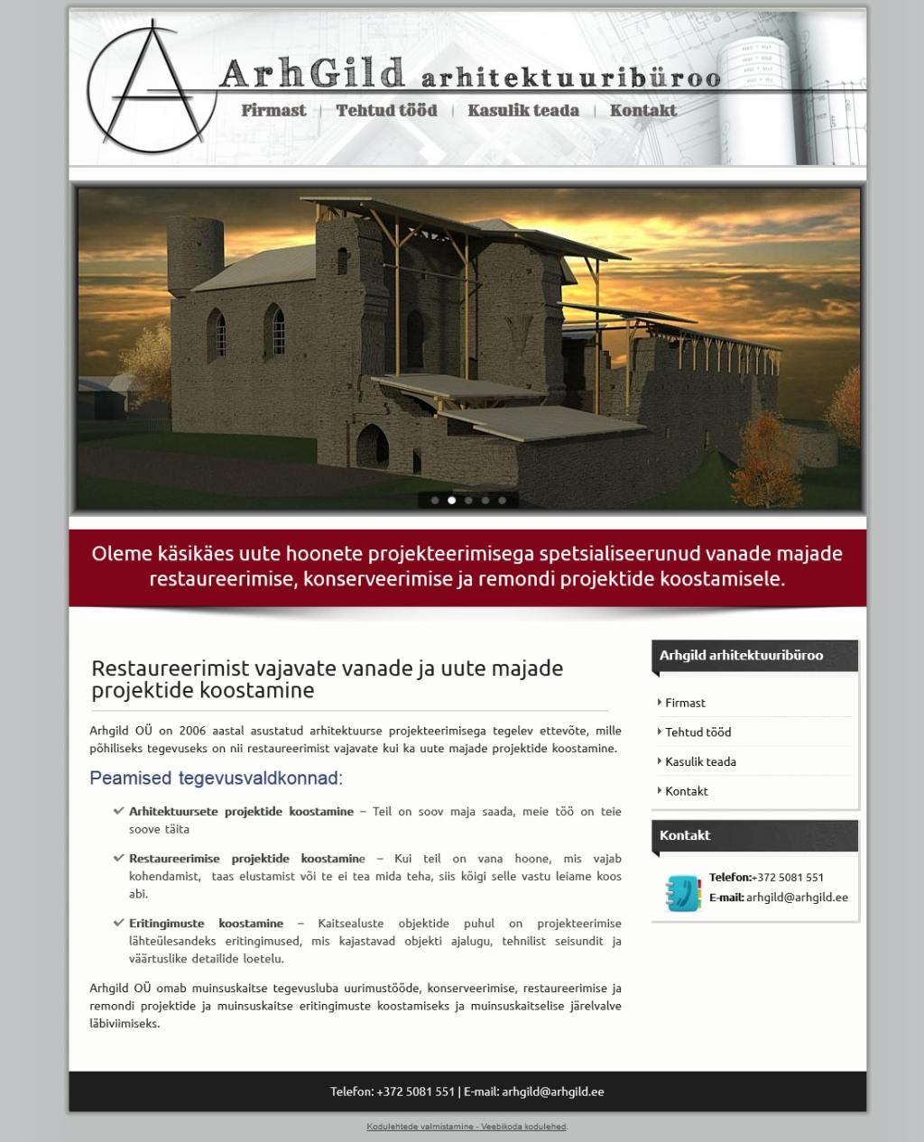 Veebilehe valmistamine - Arhitektuuribüroo Arhgild