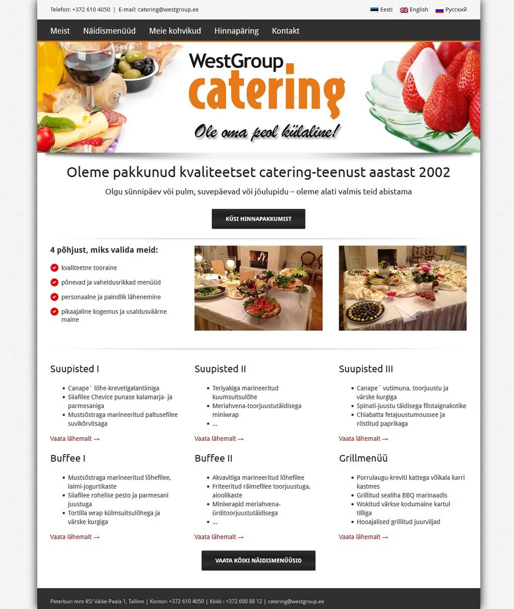 Veebilehe loomine Westgroup Cateringile