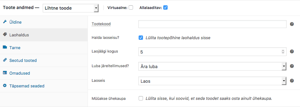 Woocommerce e-poe laohaldus